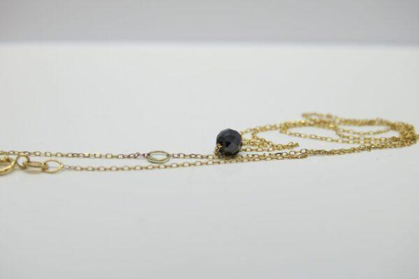 New 2018! zarte Goldkette 9k & schwarzer Diamant