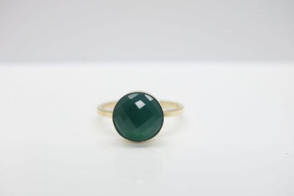 Chalcedon..smaragdgrüner Ring 925 vergoldet
