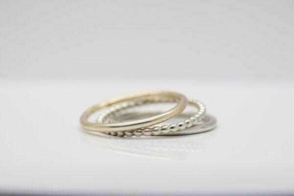 Trinity...3 zarte Ringe in 8k Gold & Silber