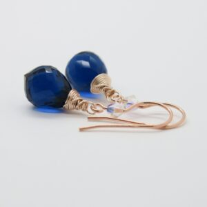 Midnight blue! edle Ohrhänger 925 rosè vergoldet