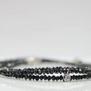 Diamantcollier schwarz, 15,2ct  Brillant 18K Weißg