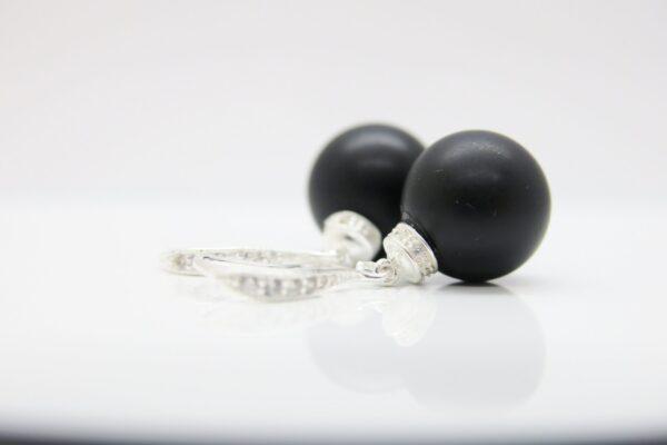 Black velvet..matt schwarze Onyx Ohrringe 925
