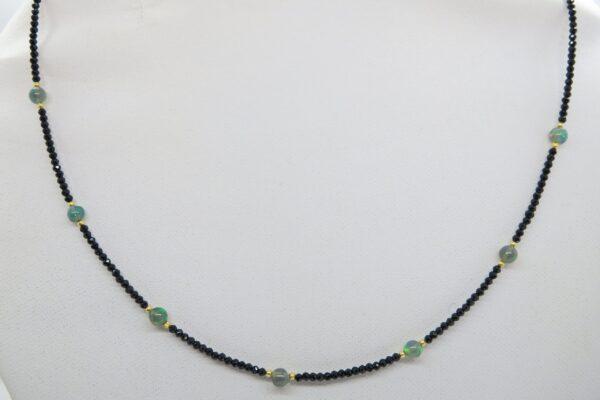 Black Spinell...zartes Collier mit Opal 925 verg.