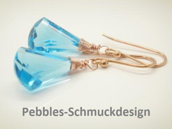 Sky-blue...edle Ohrringe 925 rosevergoldet