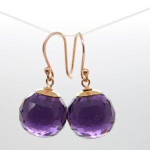 Amethyst..edle Ohrringe violett 925 rosè vergoldet